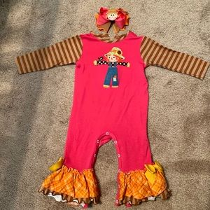 Scarecrow/Fall Romper with custom made bow
